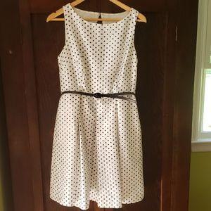 Danny & Nicole white polka dotted sleeveless dress
